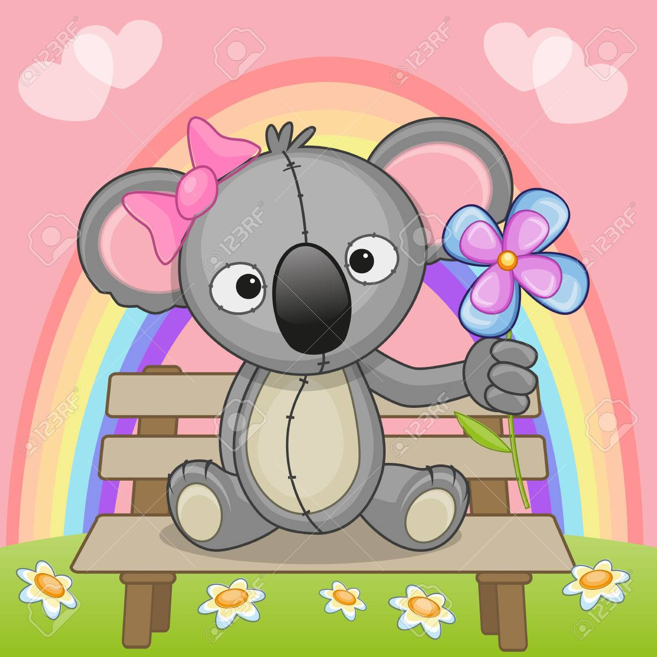 Greeting Card Koala With Flower Royalty Free Cliparts Vectors And
