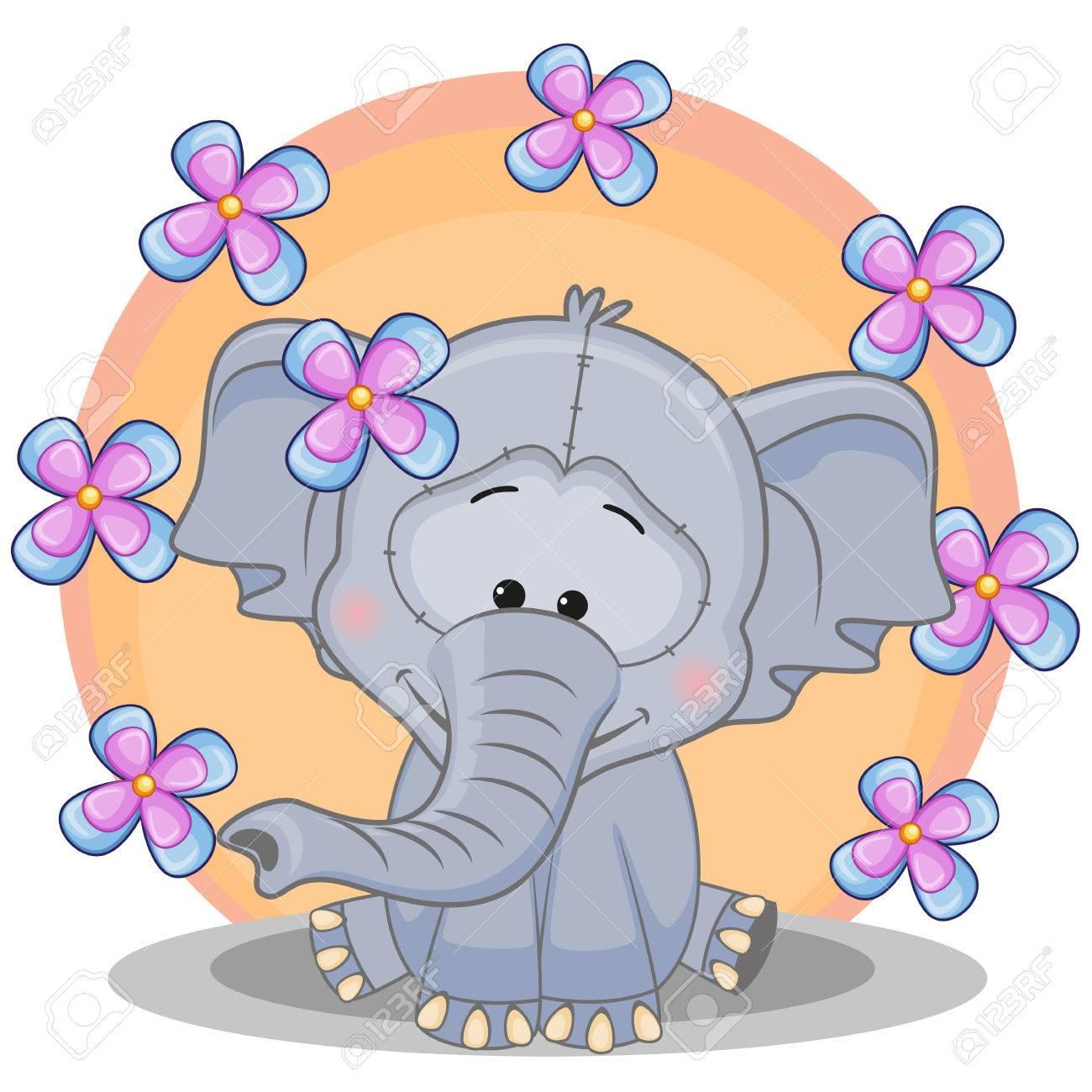 Grußkarte Elefant Mit Blumen Lizenzfrei Nutzbare Vektorgrafiken ...