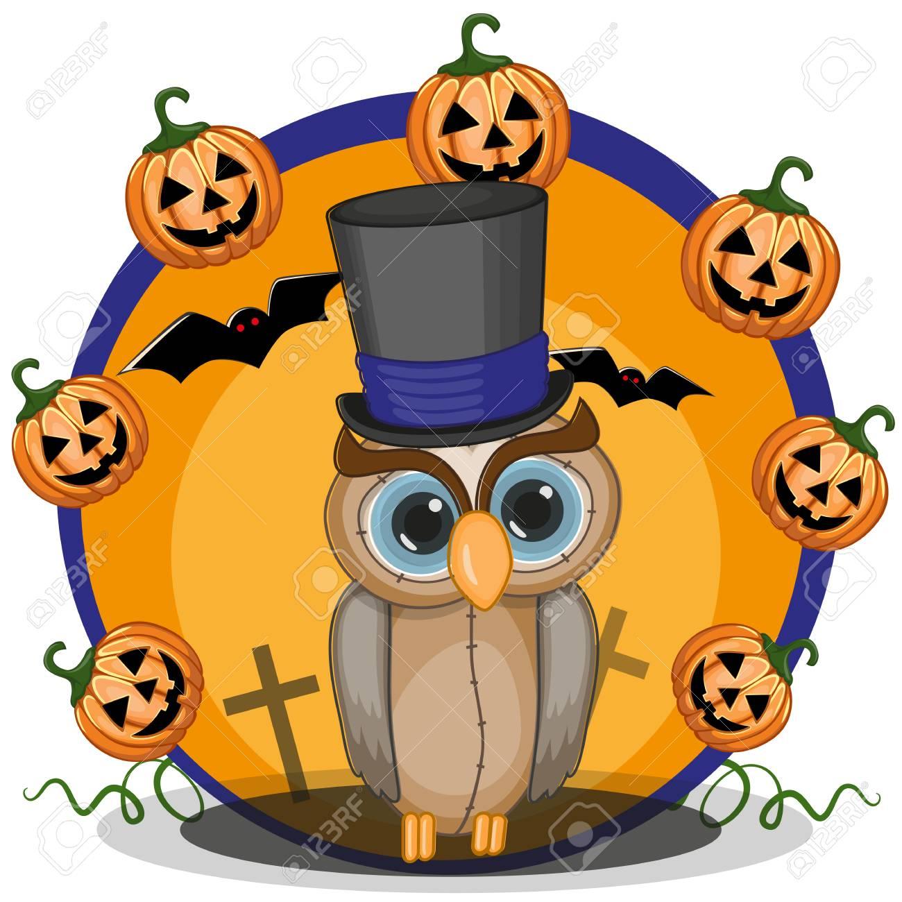 Halloween illustration of Cartoon Owl with pumpkin