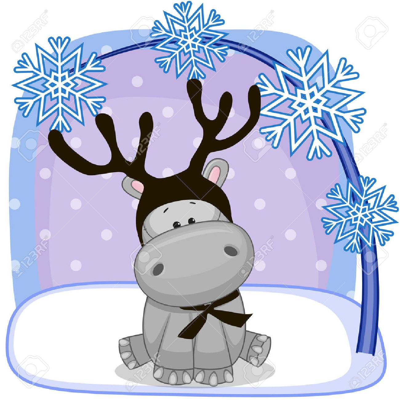 Christmas Illustration Of Cartoon Hippo With Antlers Royalty Free ...