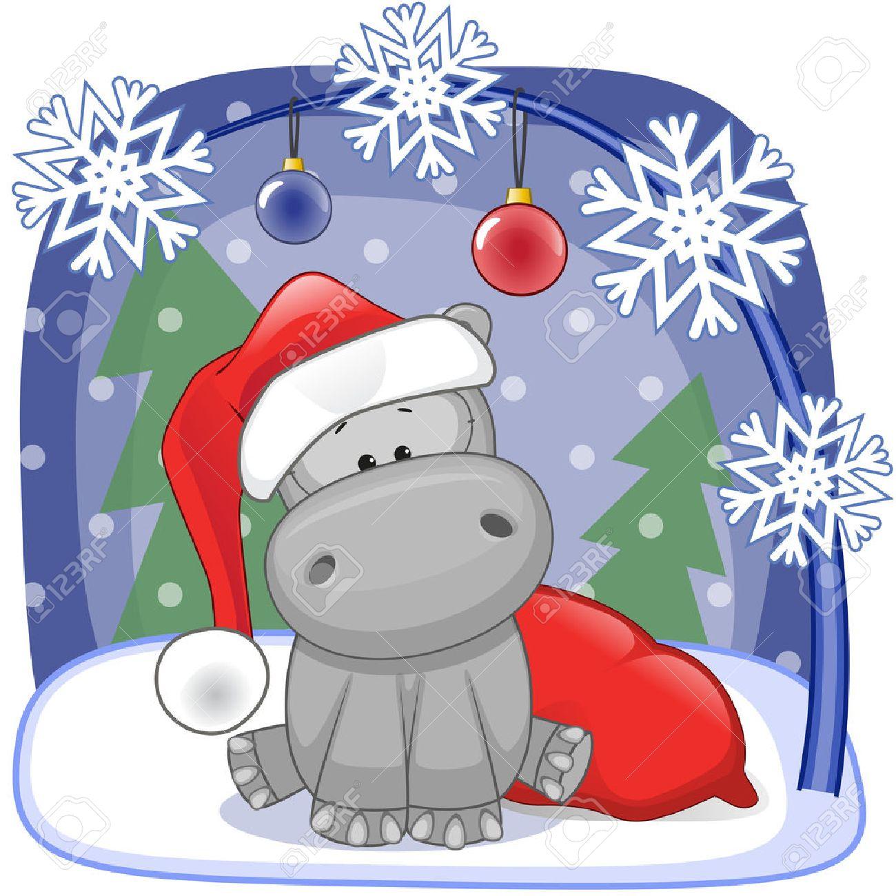 Hippo For Christmas.Christmas Illustration Of Cartoon Santa Hippo
