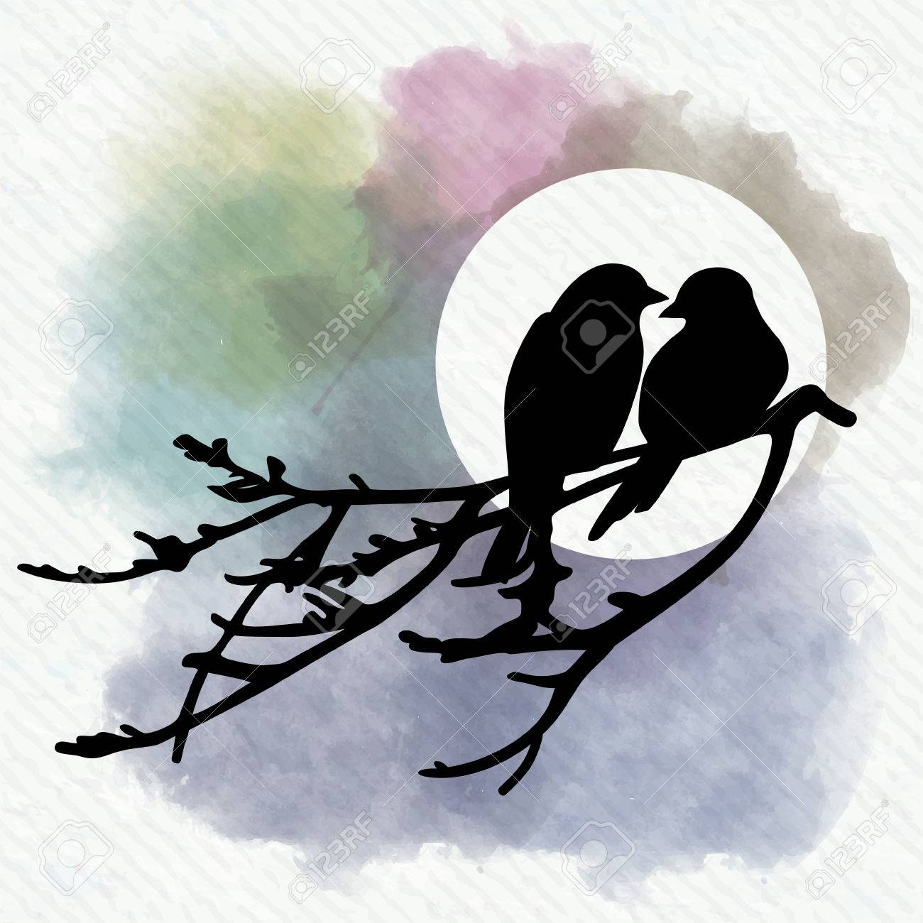 Two Birds Kissing On A Wire Center L14f1 L14f2 Datasheet Is Sitting Branch Royalty Free Cliparts Vectors And Rh 123rf Com Three