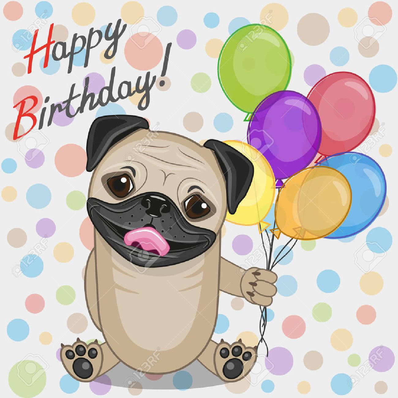 Greeting Card Pug Dog With Balloons Stock Vector