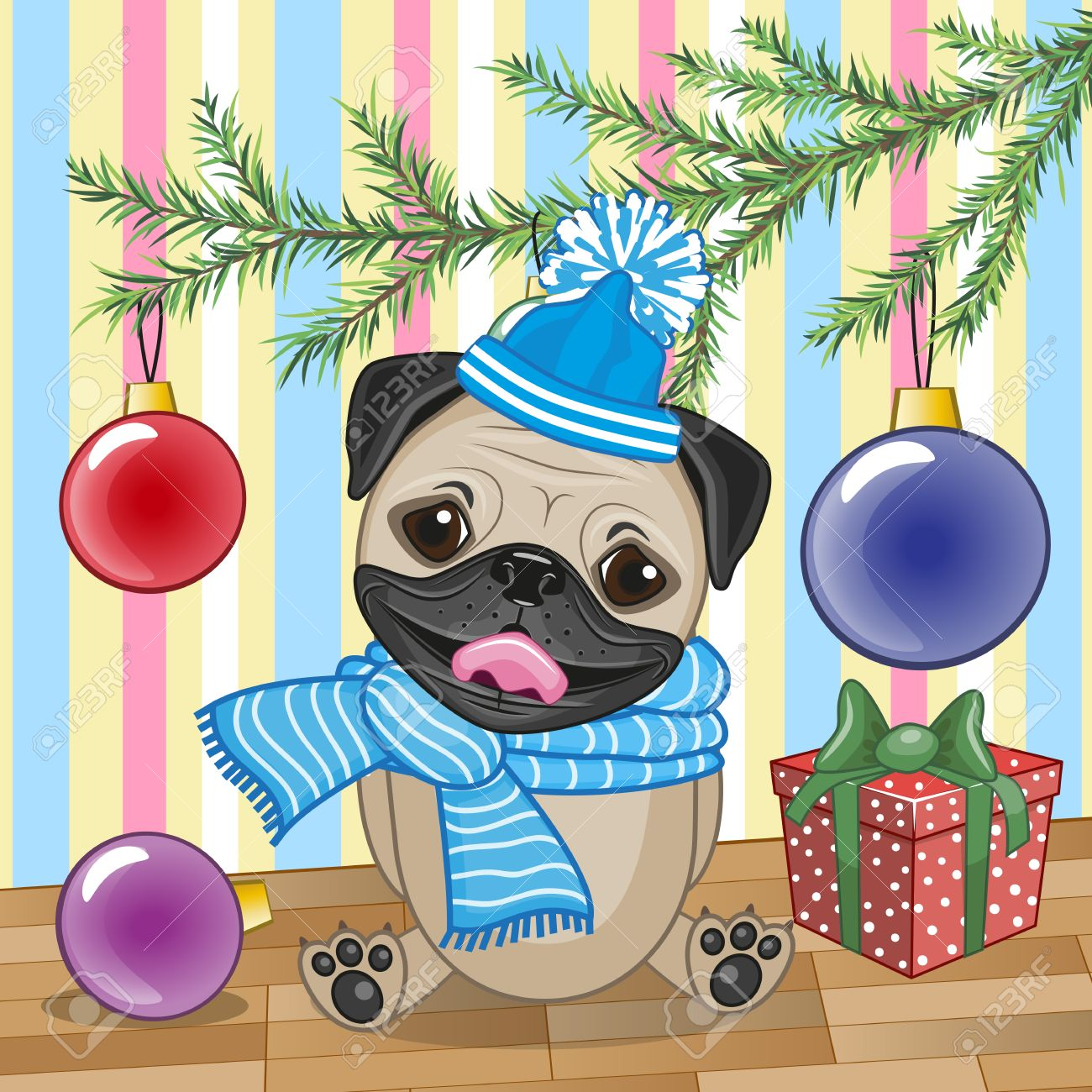 Cute Pug Dog Under The Christmas Tree Royalty Free Cliparts ...