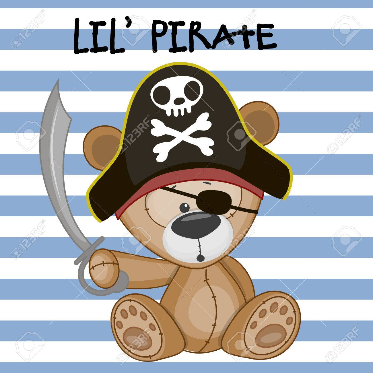 Cute Cartoon Teddy Bear In A Pirate Hat Royalty Free Cliparts, Vectors, And  Stock Illustration. Image 38998987.
