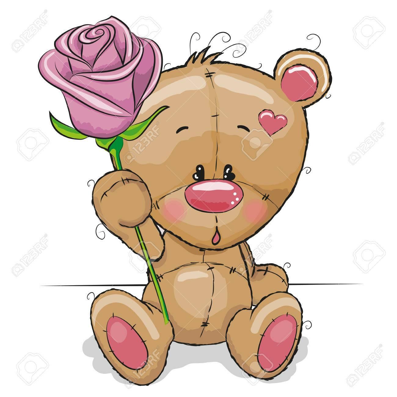 Grußkarte Teddybär Mit Blume Lizenzfrei Nutzbare Vektorgrafiken, Clip Arts,  Illustrationen. Image 39559653.