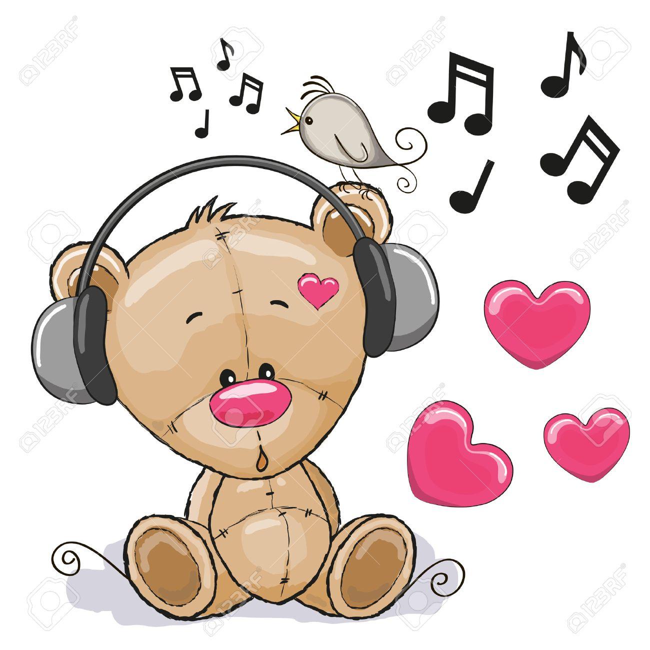 Cute cartoon Teddy Bear with headphones Stock Vector - 42005014