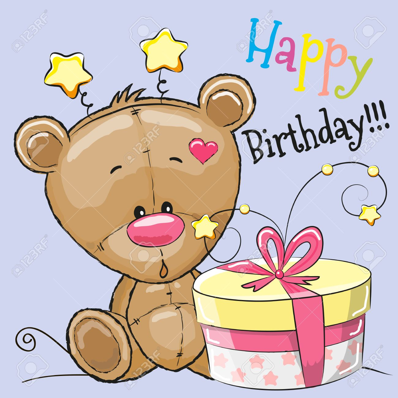 Greeting Card Cute Teddy Bear With Gift Royalty Free Cliparts