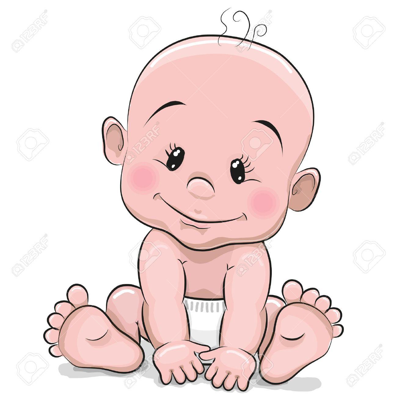 Dessin Bébé Garçon mignon dessin animé bébé garçon isolé sur un fond blanc clip art