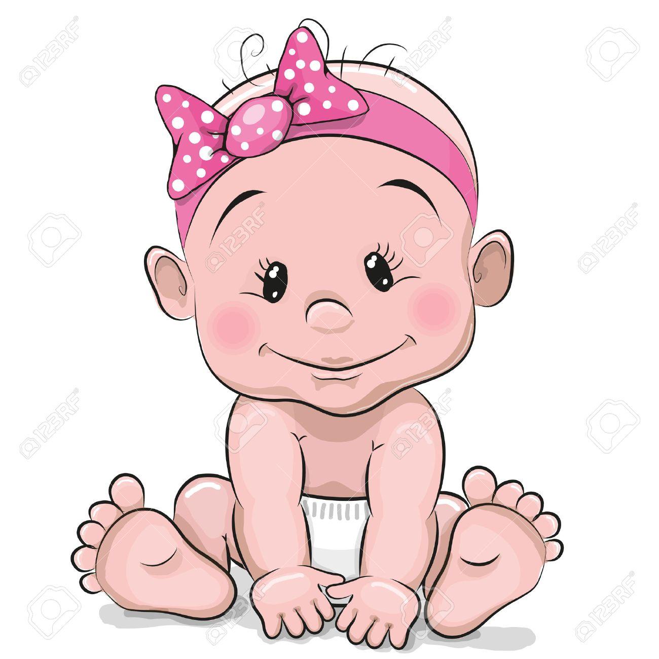 Mignon Dessin Animé Bébé Fille Isolée Sur Un Fond Blanc Clip Art