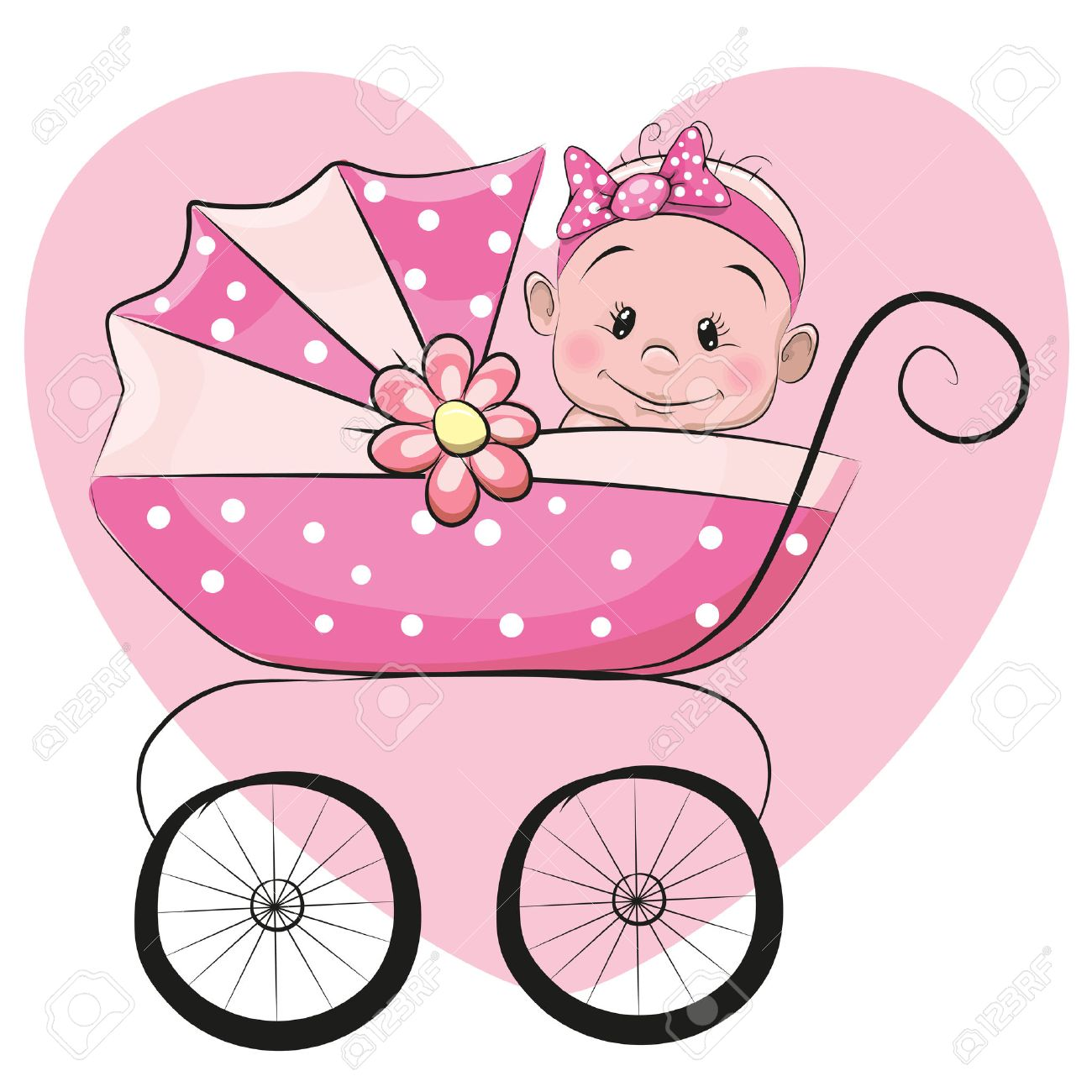 Cute Cartoon Baby Girl Is Sitting On A Carriage On A Heart Background Royalty Free Cliparts Vectors And Stock Illustration Image 44206126