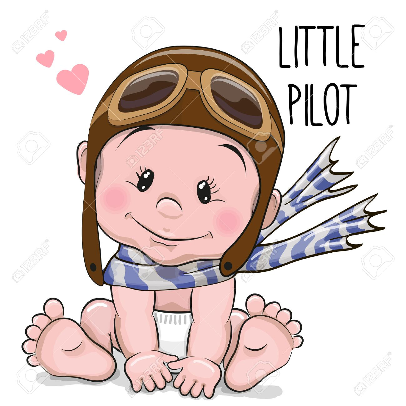 Cute Cartoon Baby boy in a pilot hat and scarf Stock Vector - 44552001