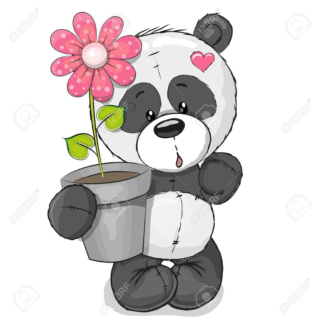 panda mignon carte de voeux panda mignon de bande dessine avec des fleurs