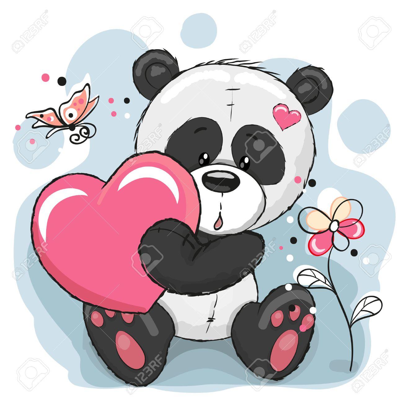 panda dessin panda mignon avec le coeur fleurs et papillons illustration