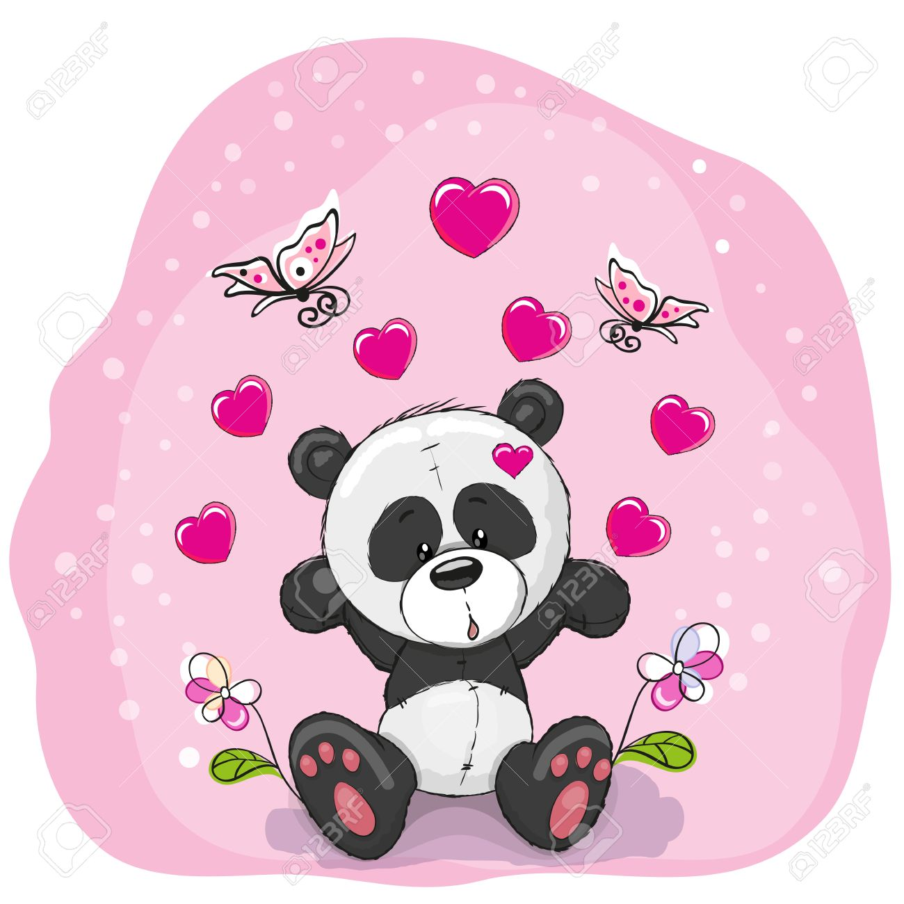 Cute Cartoon Panda With Hearts Flowers And Butterflies Stock Vector