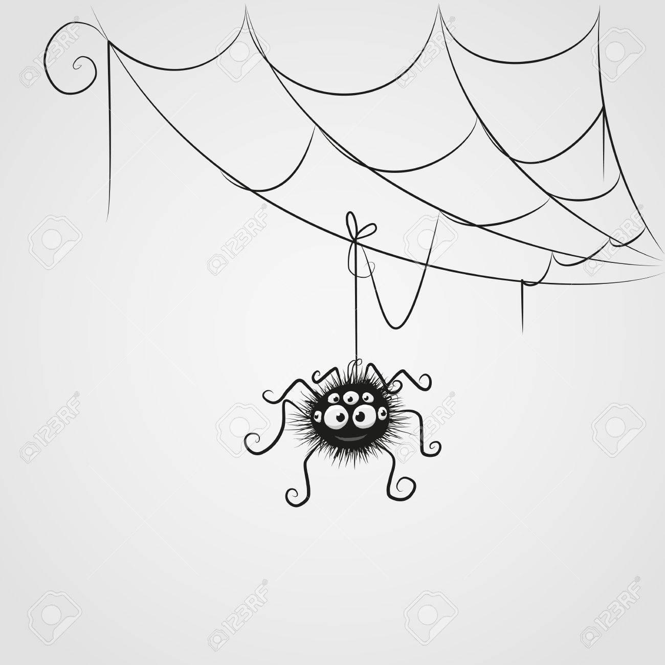 Vettoriale Simpatico Cartone Animato Ragno è Appeso Sul Web Image