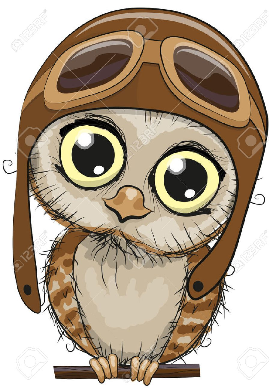 Cute cartoon owl in a pilot hat on a white background Stock Vector -  46286521 e21c7e2739ec