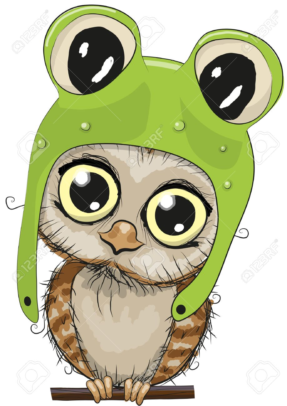 Cute cartoon owl in a frog hat on a white background Stock Vector - 46286522 b0b97860f6c6