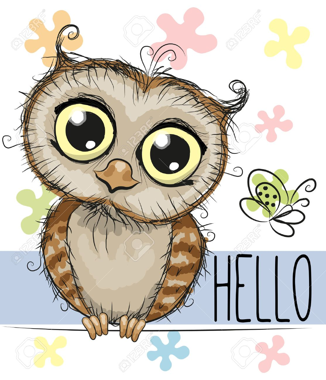 Image of: Png Cute Cartoon Owl And Butterfly On Floral Background Stock Vector 46286526 123rfcom Cute Cartoon Owl And Butterfly On Floral Background Royalty Free