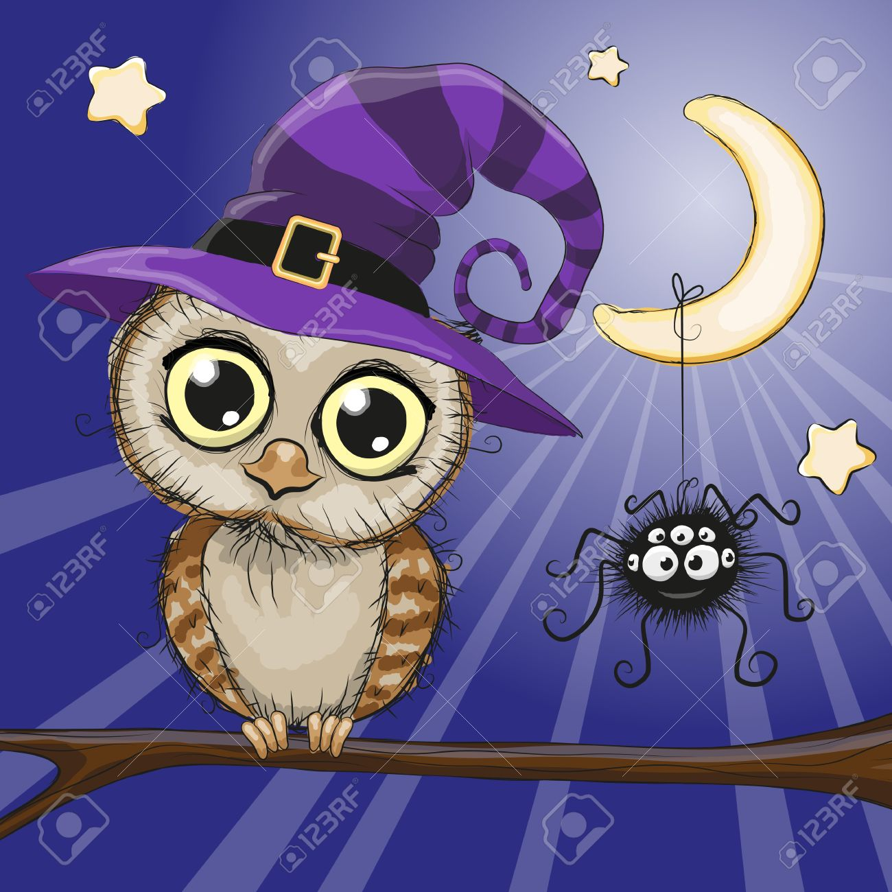 Cute cartoon owl in a witch hat is sitting on a branch Stock Vector -  46329823 731a0e2ab393