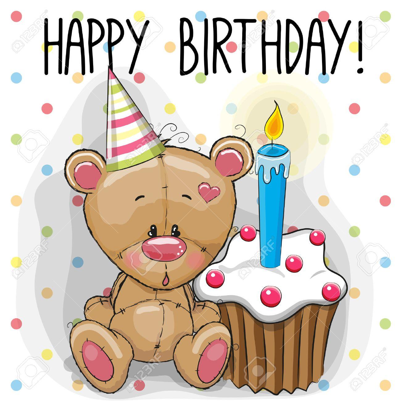 Greeting Card Cute Teddy Bear With Cake Stock Vector