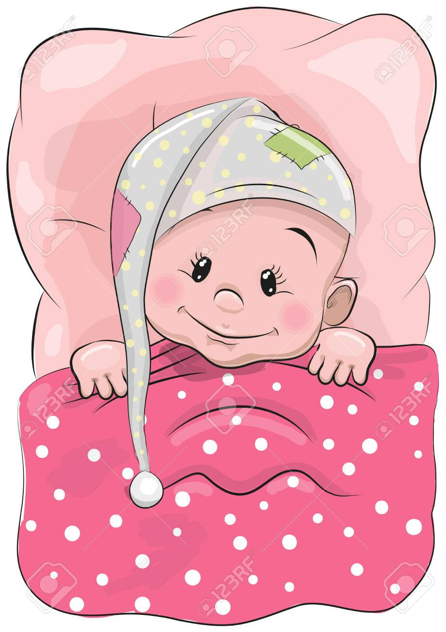cute cartoon sleeping baby with a hood in a bed royalty free