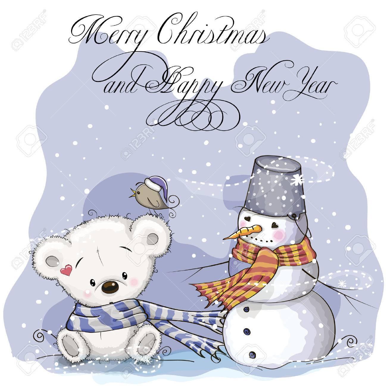Gruß Weihnachtskarte Mit Teddybär Und Schneemann Lizenzfrei Nutzbare ...