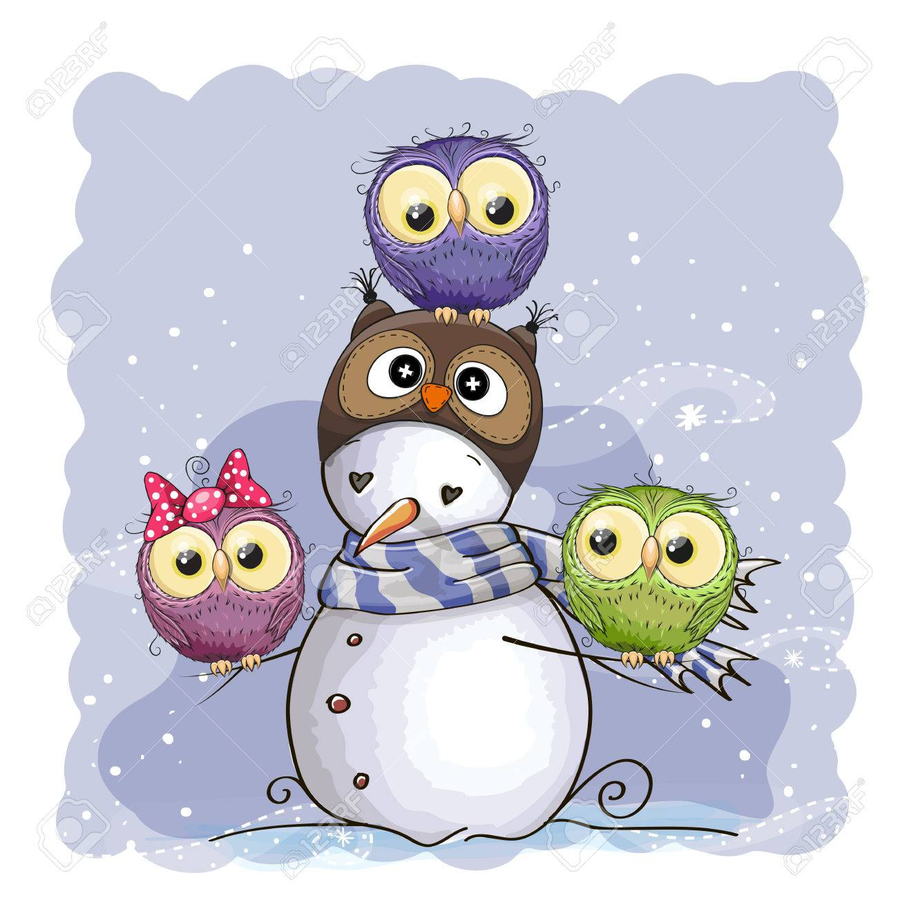 Cute Snowman in owl hat and three owls