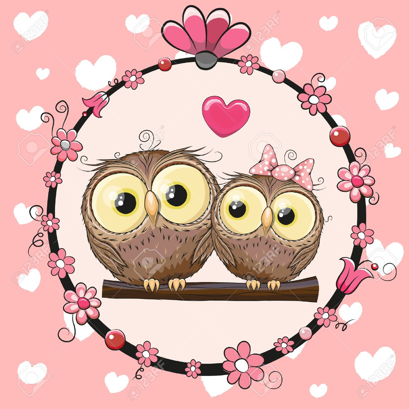 Greeting card with two cute cartoon owls royalty free cliparts greeting card with two cute cartoon owls stock vector 48177971 voltagebd Images