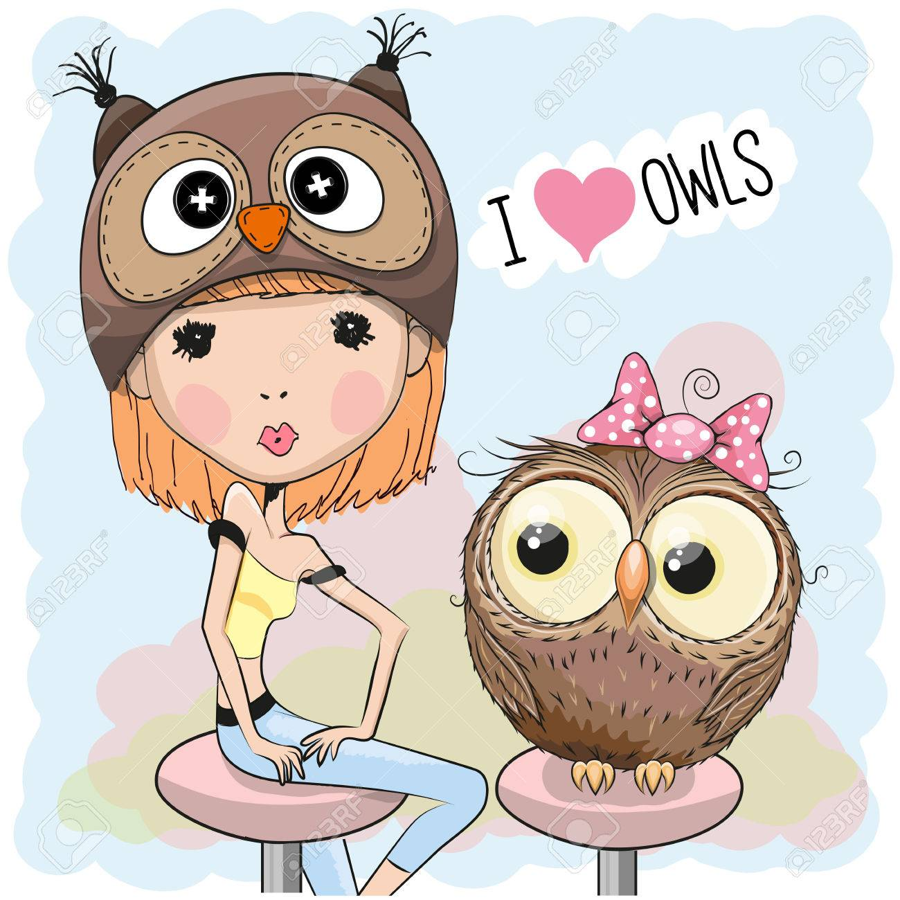 Cute Girl in a owl hat with owl Stock Vector - 48179048 fe77a34a24ab