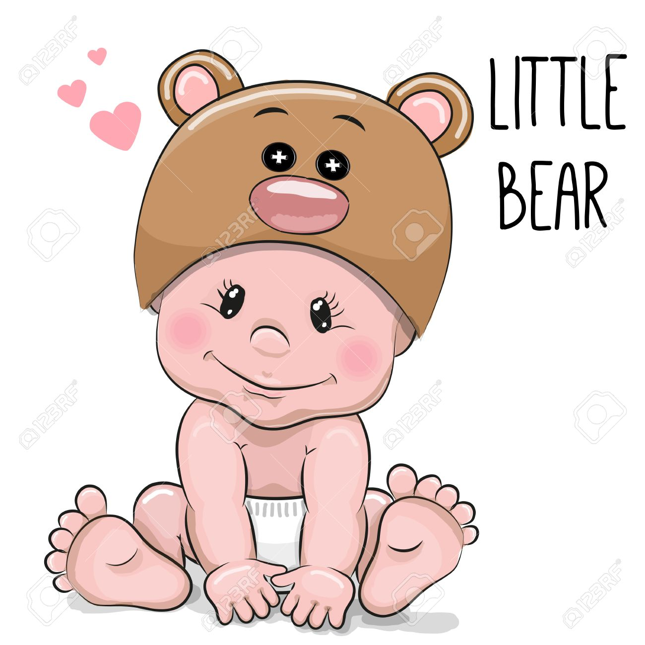 Cute Cartoon Baby Boy In A Bear Hat On A White Background Royalty ...