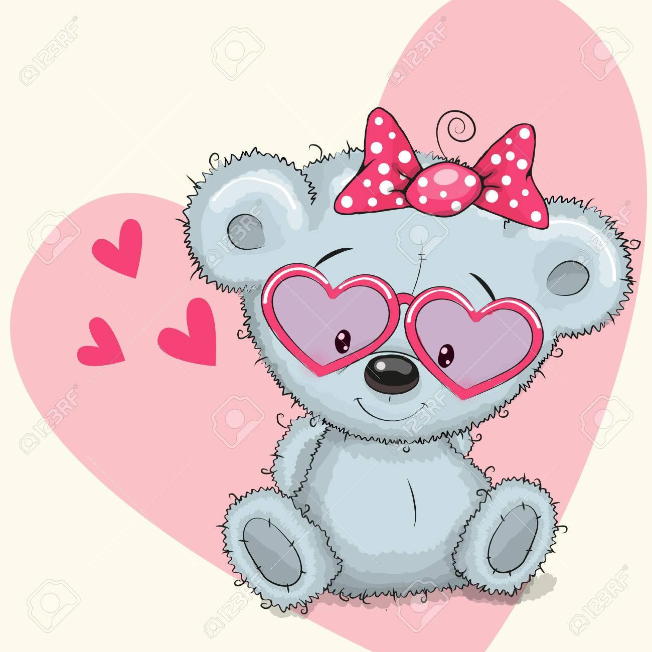 Cute Bear Girl In Sunglasses On A Heart Background