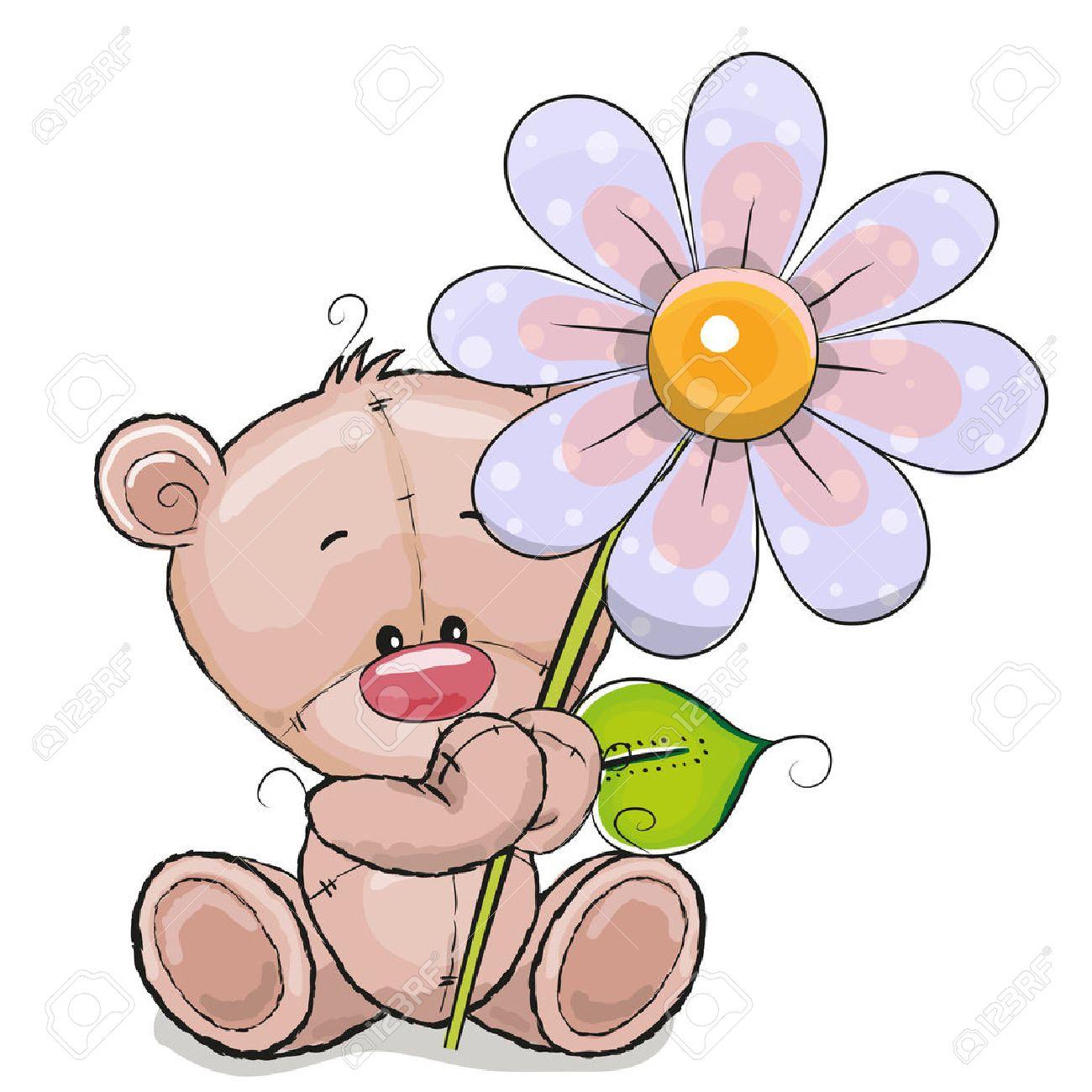 Grußkarte Bär Mit Blume Auf Einem Weißen Hintergrund Lizenzfrei Nutzbare  Vektorgrafiken, Clip Arts, Illustrationen. Image 49067379.