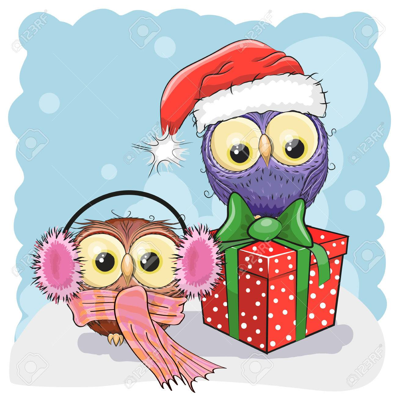 image result for christmas owls cartoon