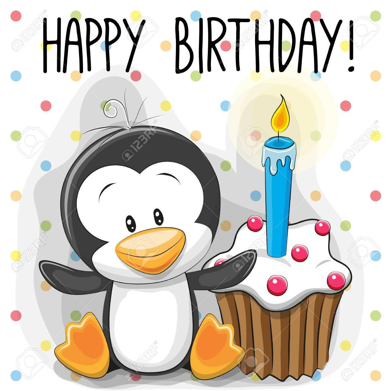 Grusskarte Niedliche Cartoon Pinguin Mit Kuchen Lizenzfrei Nutzbare