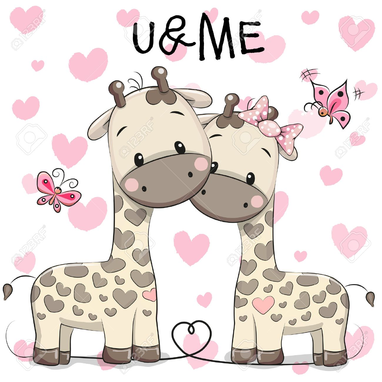 Two cute giraffes on a hearts background - 51844964