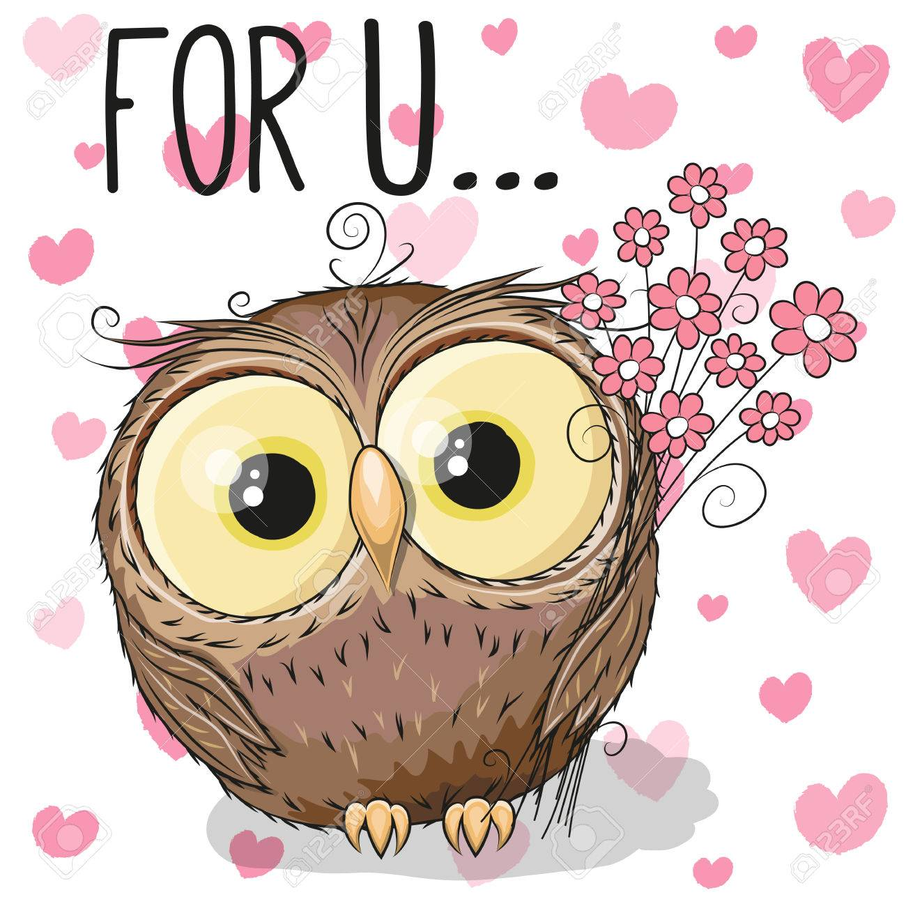 Valentine Card Cute Cartoon Owl With Flowers On A Heart Background