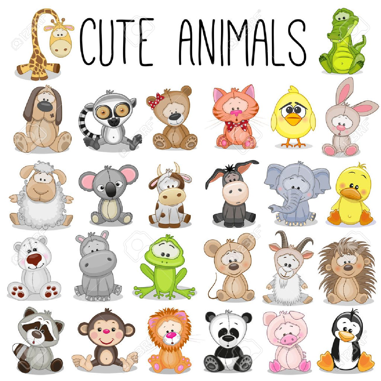 Set of Cute Animals on a white background - 51845079
