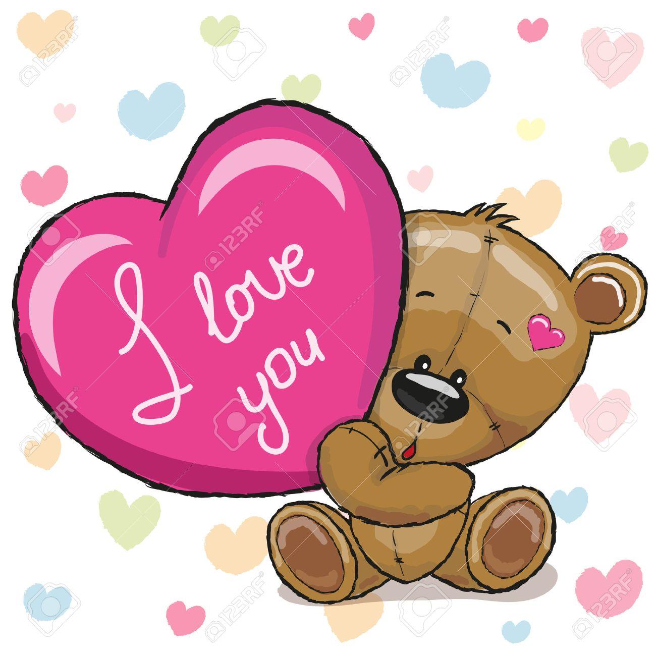 Cute Teddy Bear with heart on a hearts background - 51845080