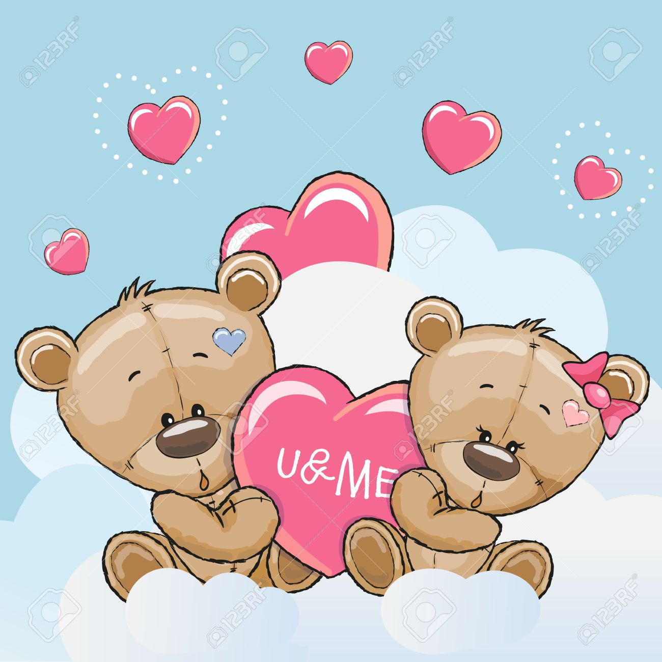 Valentine Card With Cute Cartoon Lovers Bears Royalty Free Cliparts Vectors And Stock Illustration Image 52009590