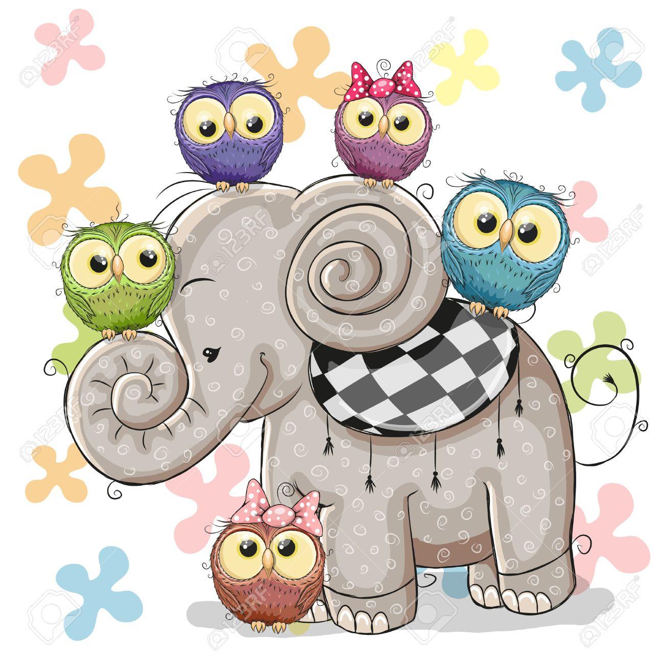 Nette Karikatur-Elefant Und Fünf Eulen Auf Einem Blumen-Hintergrund ...