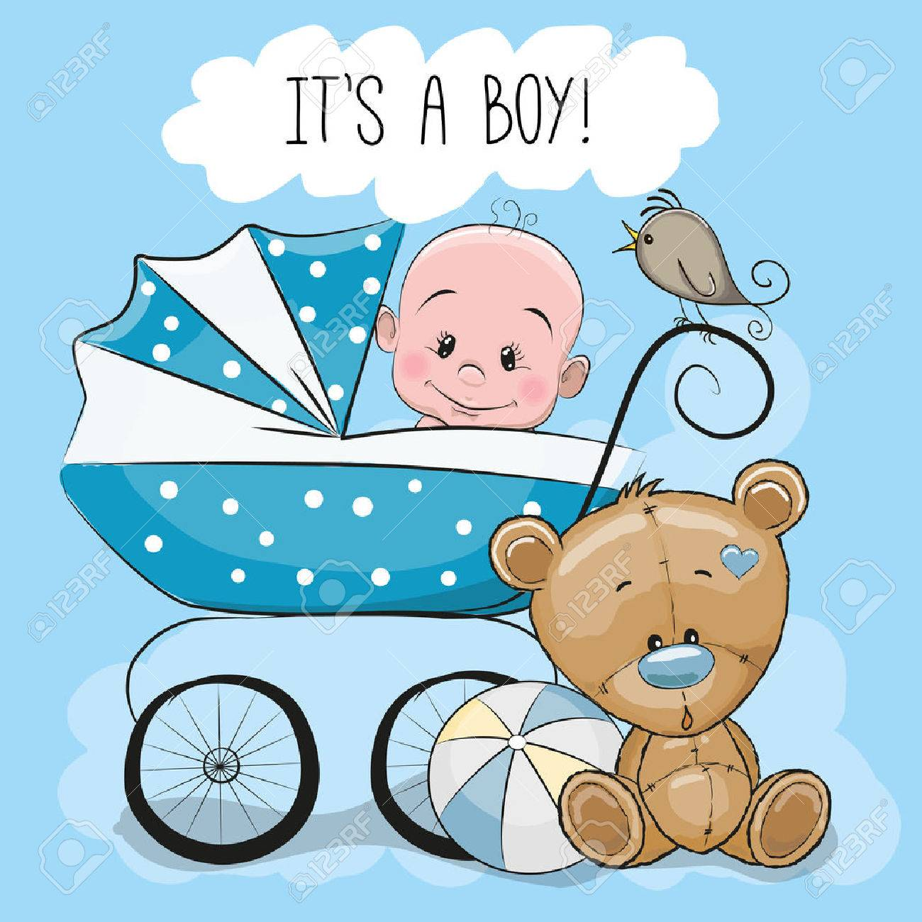 Greeting card its a boy with baby carriage and Teddy Bear - 55043746