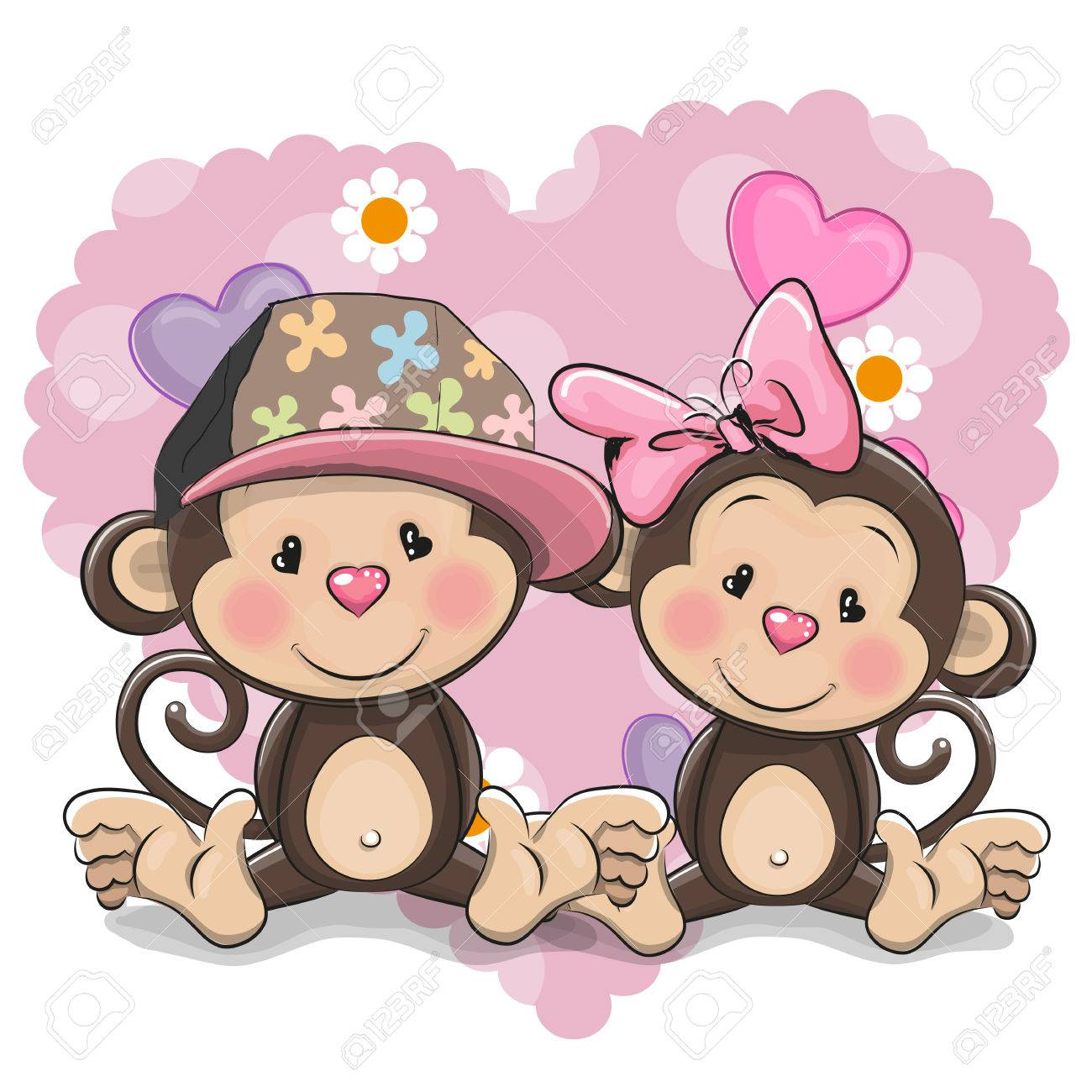 two cute cartoon monkeys on a heart background royalty free cliparts