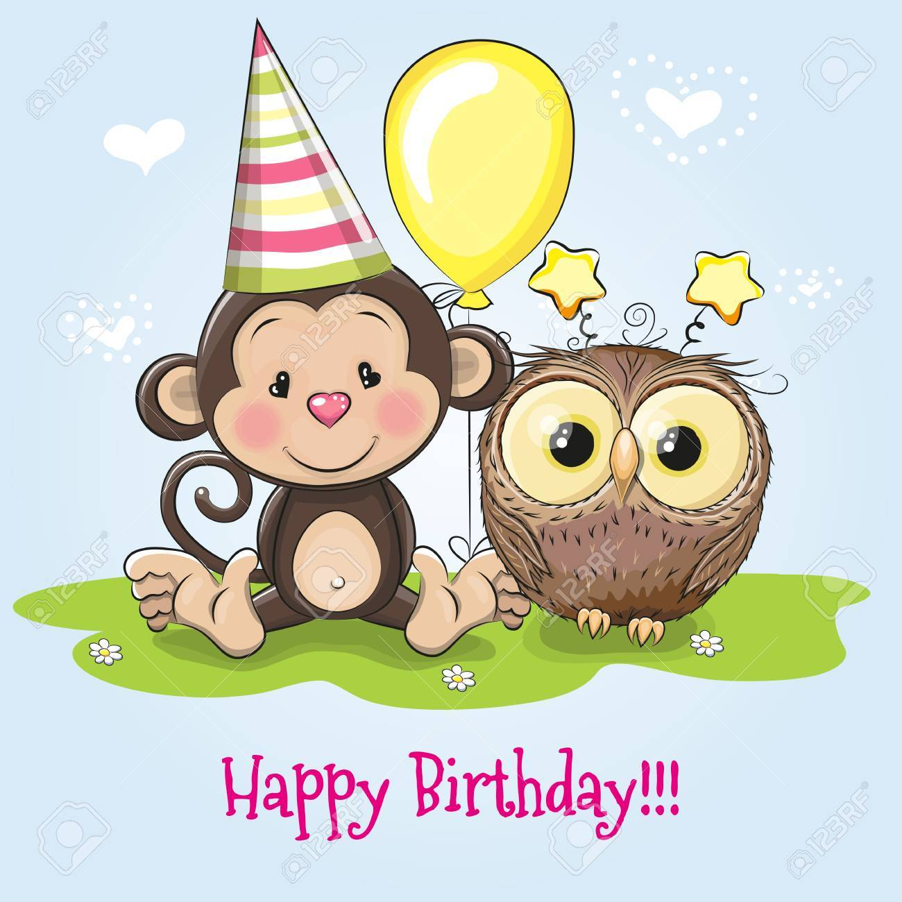 Greeting Birthday Card With Monkey And Owl Stock Vector