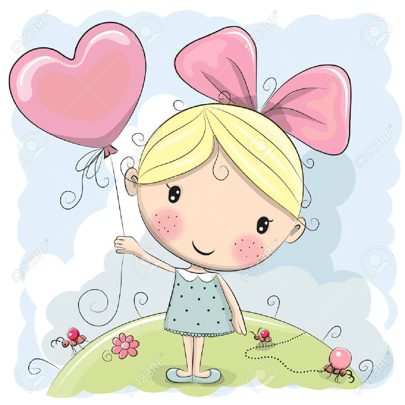 cute cartoon girl with a balloon on the meadow royalty free cliparts
