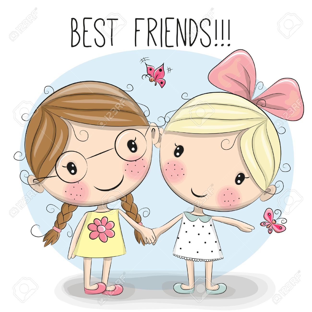 two cute cartoon girls keep for hands royalty free cliparts, vectors