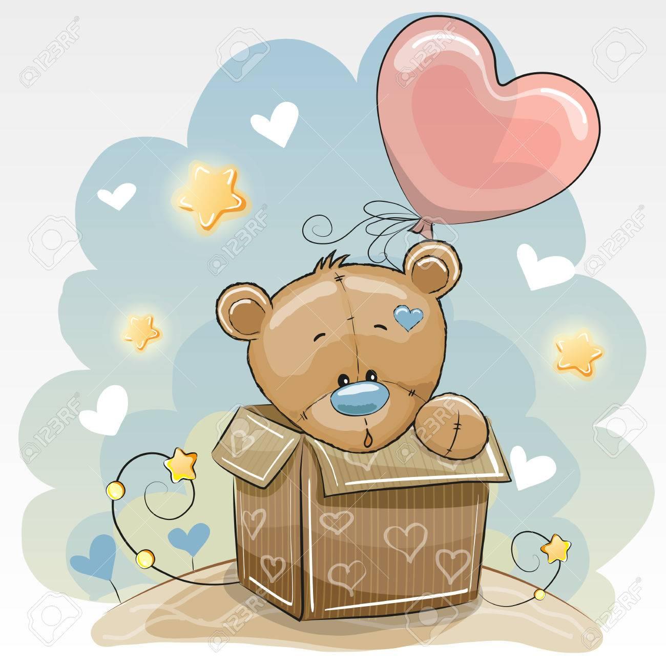 Birthday Card With A Cute Teddy Bear And Balloon Stock Vector