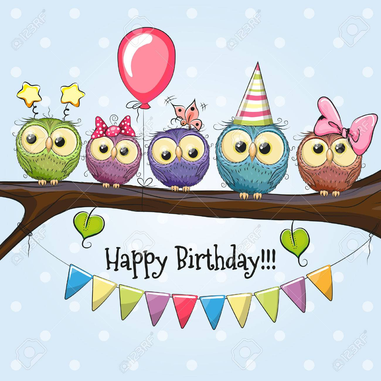 Five Owls on a brunch with balloon and bonnets - 60844679