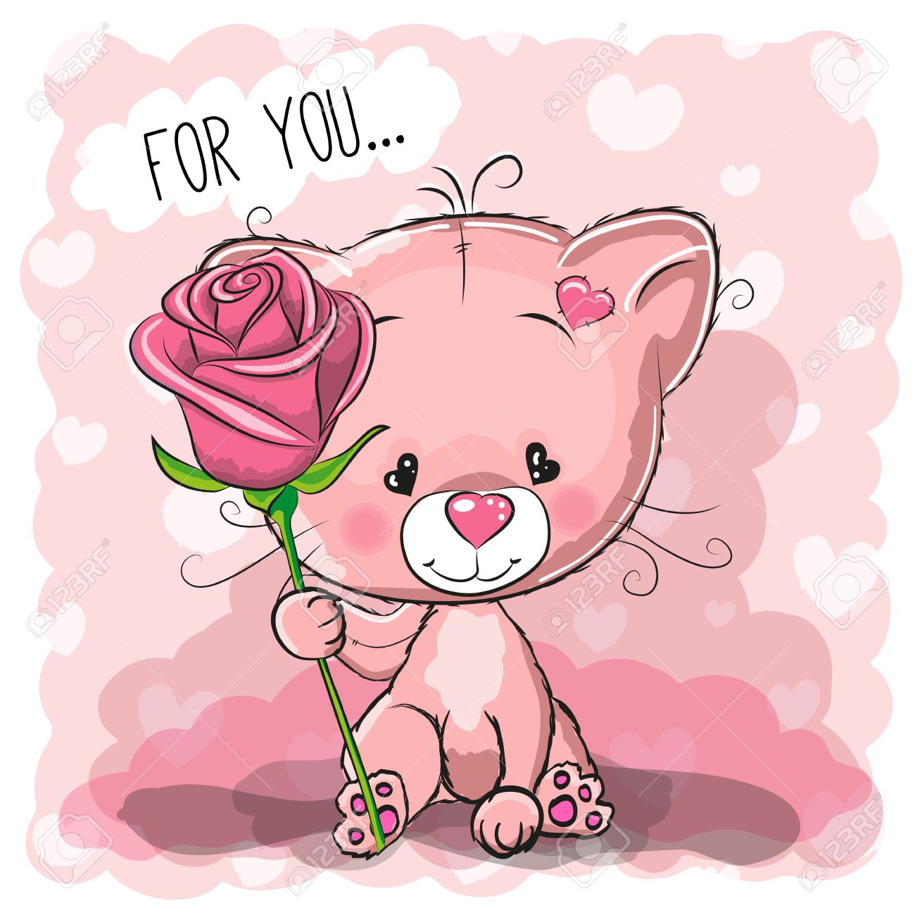Greeting Card Cute Cartoon Cat With Flower On A Pink Background