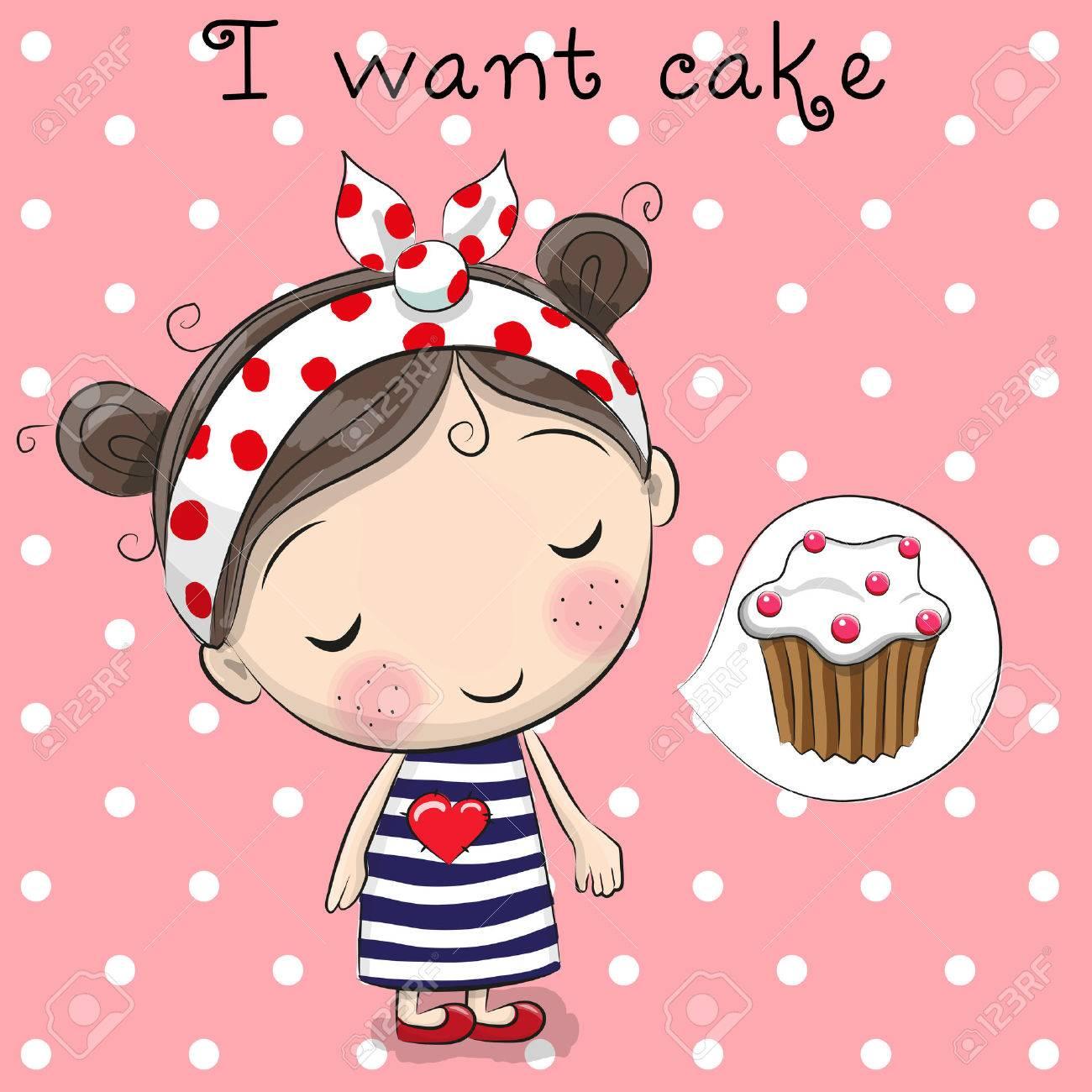 Linda chica de dibujos animados está soñando con la torta